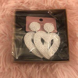 Jewelry - WHITE HEART EARRINGS!